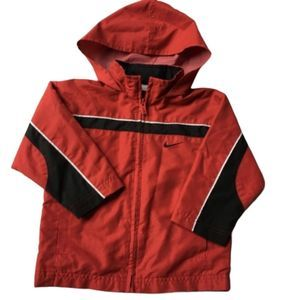 Nike Boy's Red Hooded Windbreaker Jacket 2T